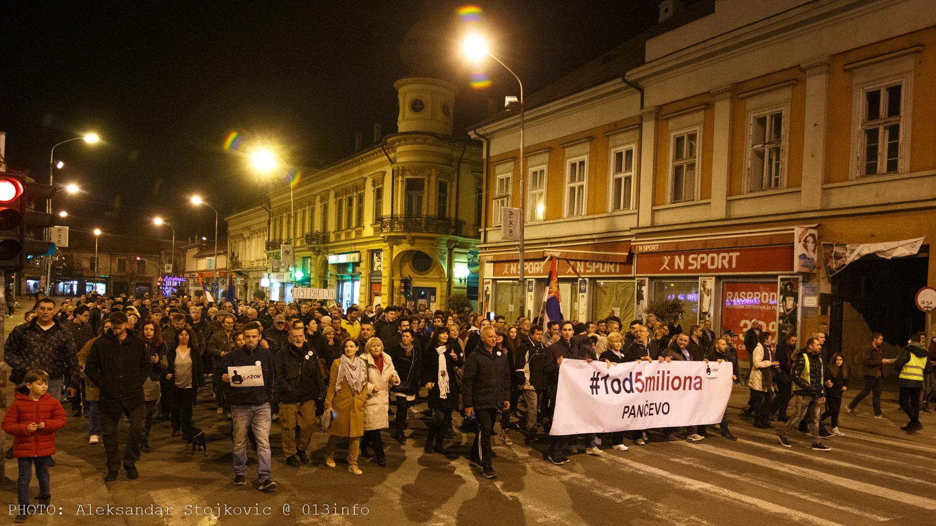 Protest #1od5miliona u Pančevu 15. marta