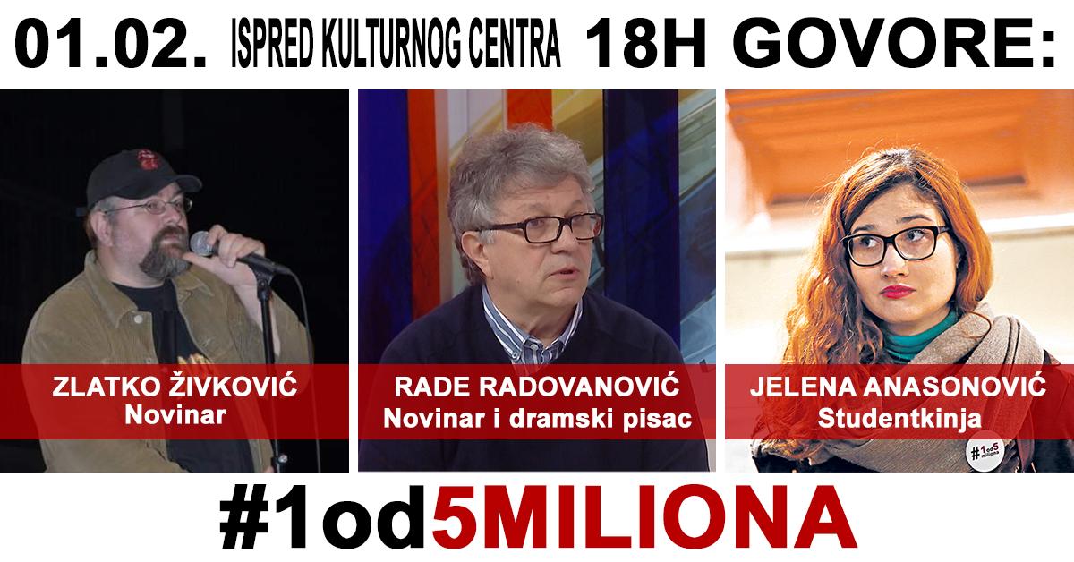 Najava protesta #1od5miliona u Pančevu