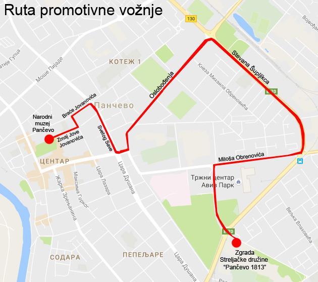 Ruta promotivne vožnje bicikala za kraj Rebicycle kampa Pančevo
