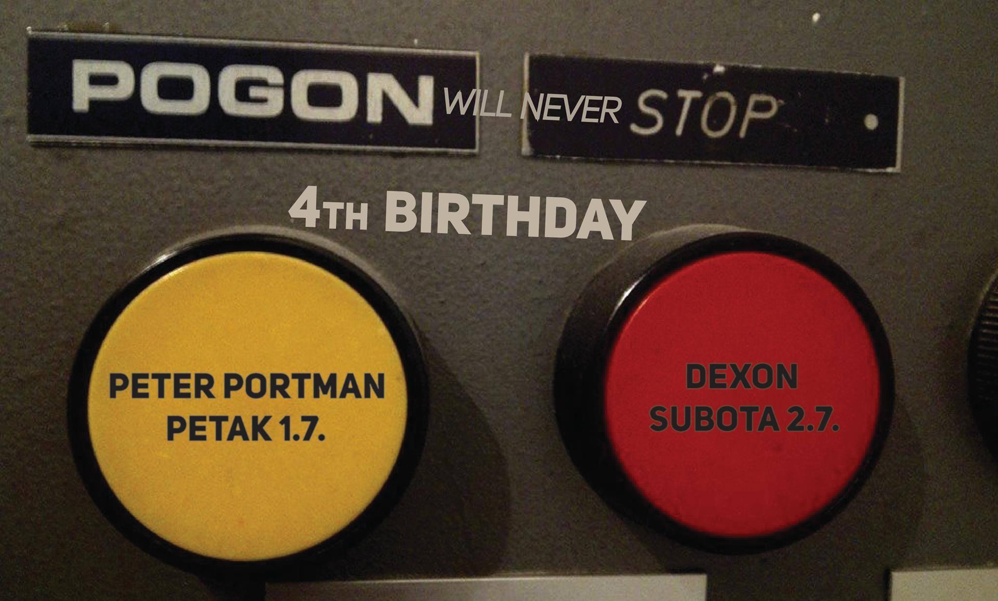 Plakat najave za žurku povodom 4. rođendana kafića Štab Pogon