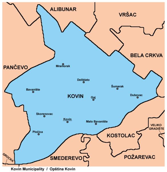 Kovin mapa