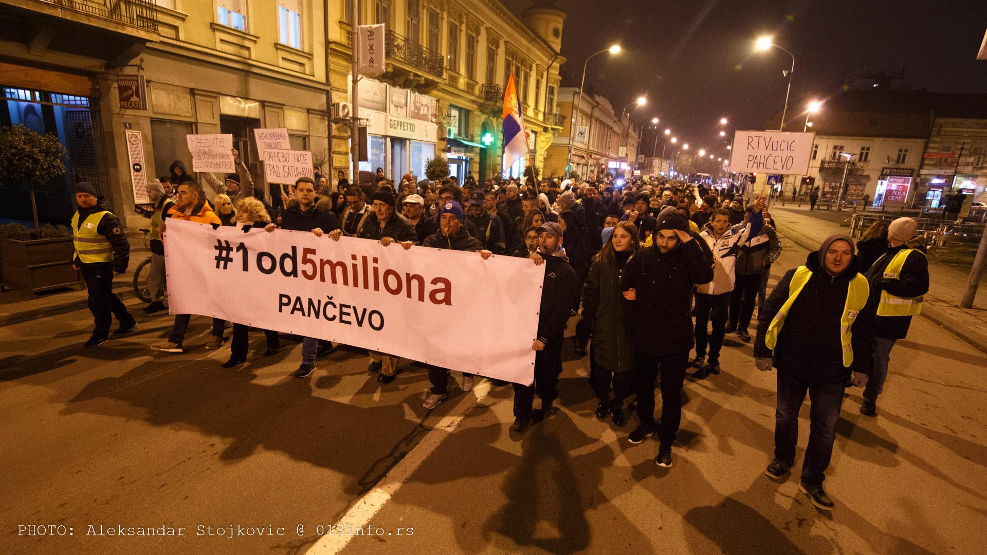 Protest #1od5miliona Pančevo 8. februar