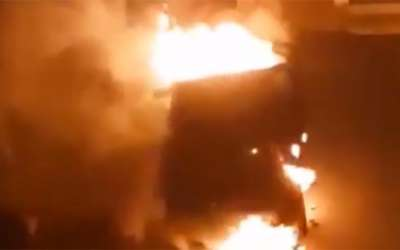 Automobil gori na Strelištu Pančevo
